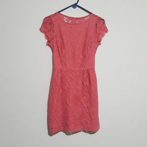 Forever 21 Pink Lace Open Back Dress Size M